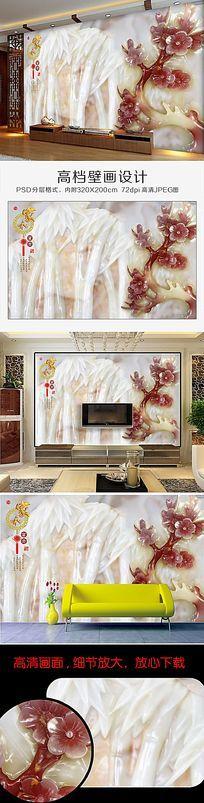 清新淡雅的白玉红花玉雕竹子背景墙