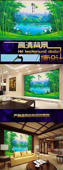 油画竹林美景背景