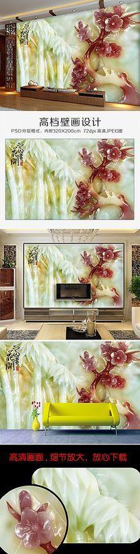 最新流行高清3D立体玉雕兰花电视背景墙