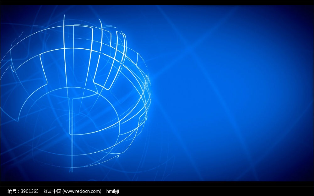 视频_蓝色线状热气球旋转视频
