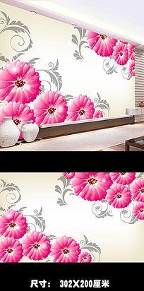 梦幻手绘花朵3D电视背景墙图片下载