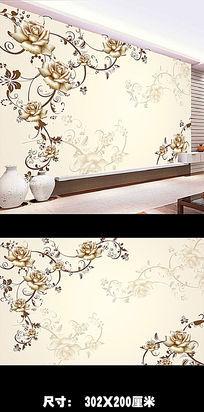 中式手绘电视背景墙PSD图片下载