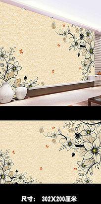 中式手绘花纹背景墙PSD图片下载