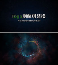 炫彩粒子光线logo演绎ae片头模板
