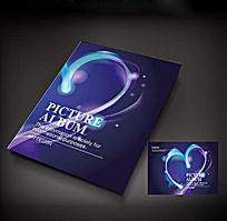蓝色底纹发光爱心创意画册封面设计