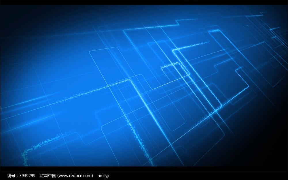 视频_蓝色科技光束线框动态视频背景