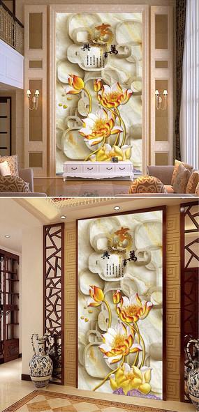 家和万事兴莲花彩雕玄关过道背景墙