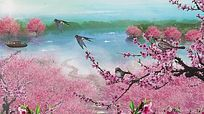 桃花盛开花瓣飘舞视频