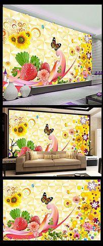 梦幻花朵蝴蝶背景墙