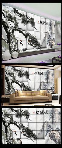 松树水墨中国风背景墙