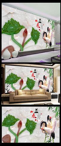 玉雕仙鹤荷花背景墙