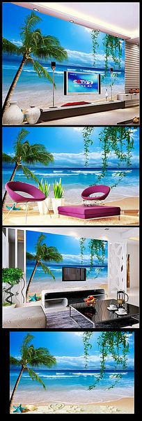 海滩风景电视墙背景装饰画