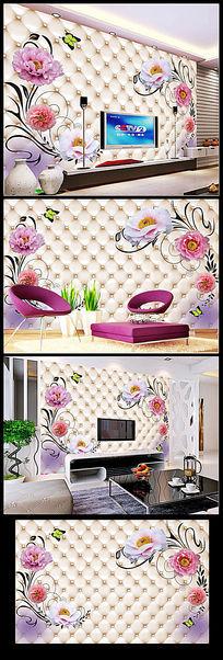 玫瑰3D软包背景墙装饰画