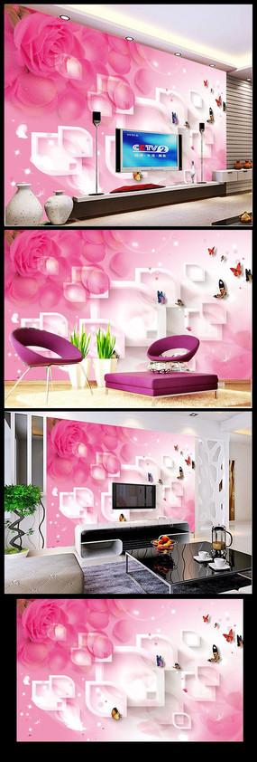 梦幻花朵3D立体电视背景墙3D装饰画