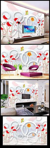 梦幻时尚唯美手绘花朵花卉电视背景墙装饰画