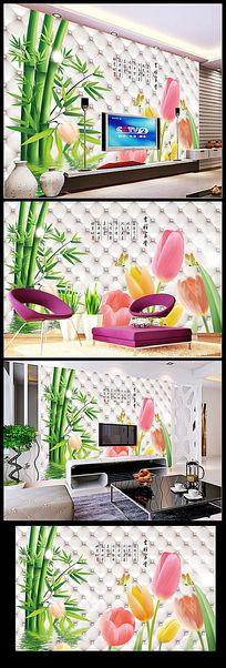 清新绿色竹子竹林3D立体电视背景墙