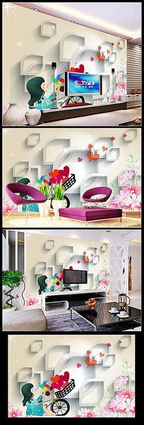 现代儿童房3D立体卡通装饰画背景墙