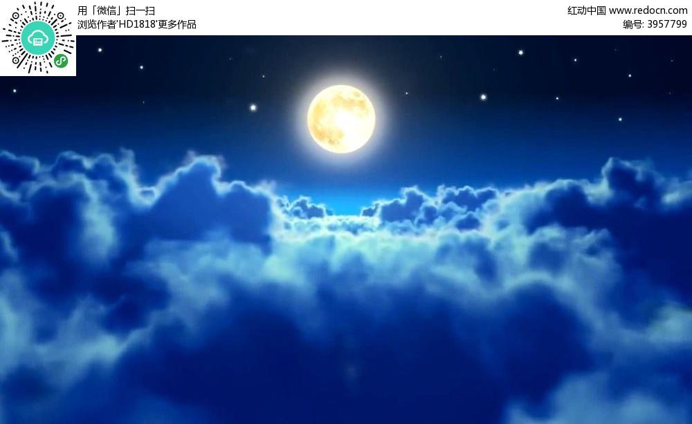 视频_月色美中秋月亮视频背景