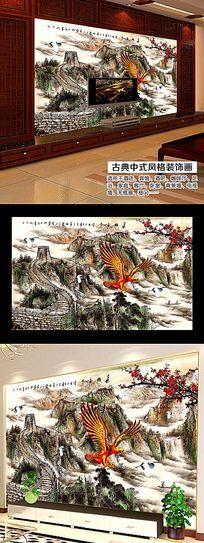 高清长城风景画背景墙