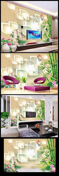 高清荷花山水情3D圆圈竹子背景墙