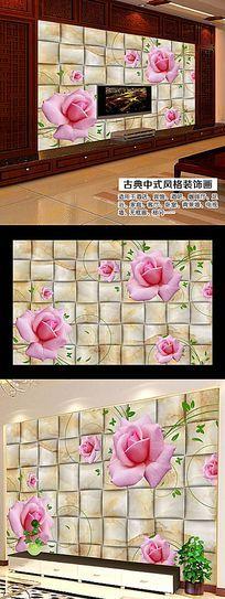 淡雅玫瑰花瓣立体背景墙