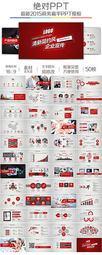 简约红色高雅企业宣传公司简介产品发布ppt模板
