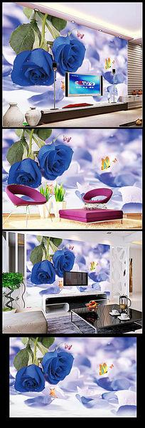 梦幻蓝玫瑰花朵蝴蝶水珠电视背景墙