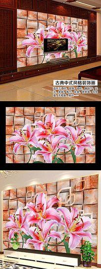 8款 时尚花瓣立体背景墙psd素材下载