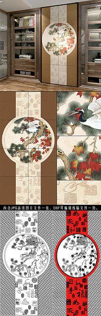 中式玄关福临门瓷砖背景墙路径文件