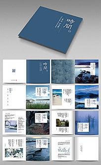 蓝色简约商业画册设计模版