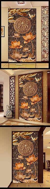木雕莲花玄关装饰画