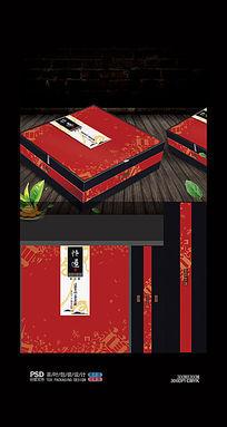 红色中国风茶包装盒模版