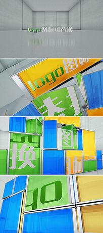 玻璃方块logo演绎动画AE模板