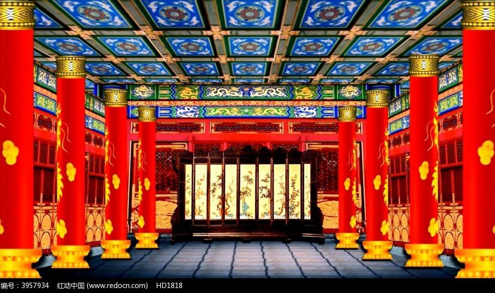 皇宫喜庆龙盘柱子视频素材图片
