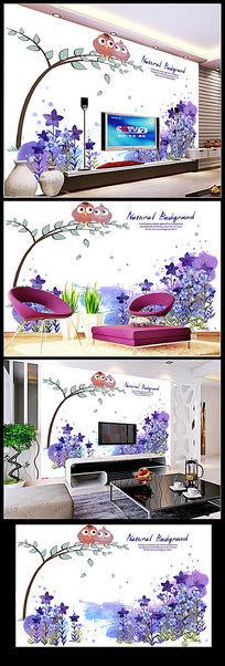 梦幻花卉客厅电视背景墙
