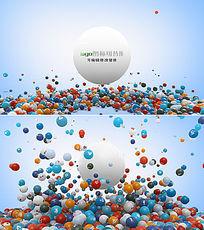 3d粒子圆球logo展示ae模板