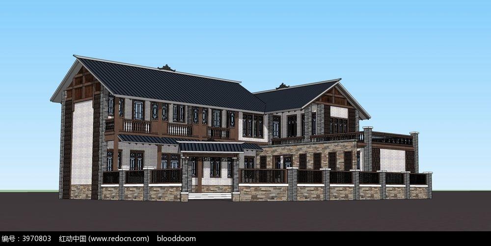su中式建筑sketchup模型图片