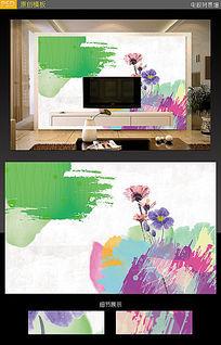 春色电视背景墙插画素材