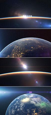 地球旋转地平线日出logo标志演绎ae模板