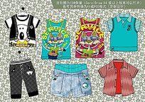 韩版流行童装款式设计手稿 CDR矢量