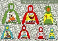 韩版童装卡通卫衣设计手稿矢量CDR格式 CDR