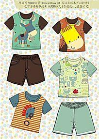 韩版童装流行款式设计手稿 CDR矢量