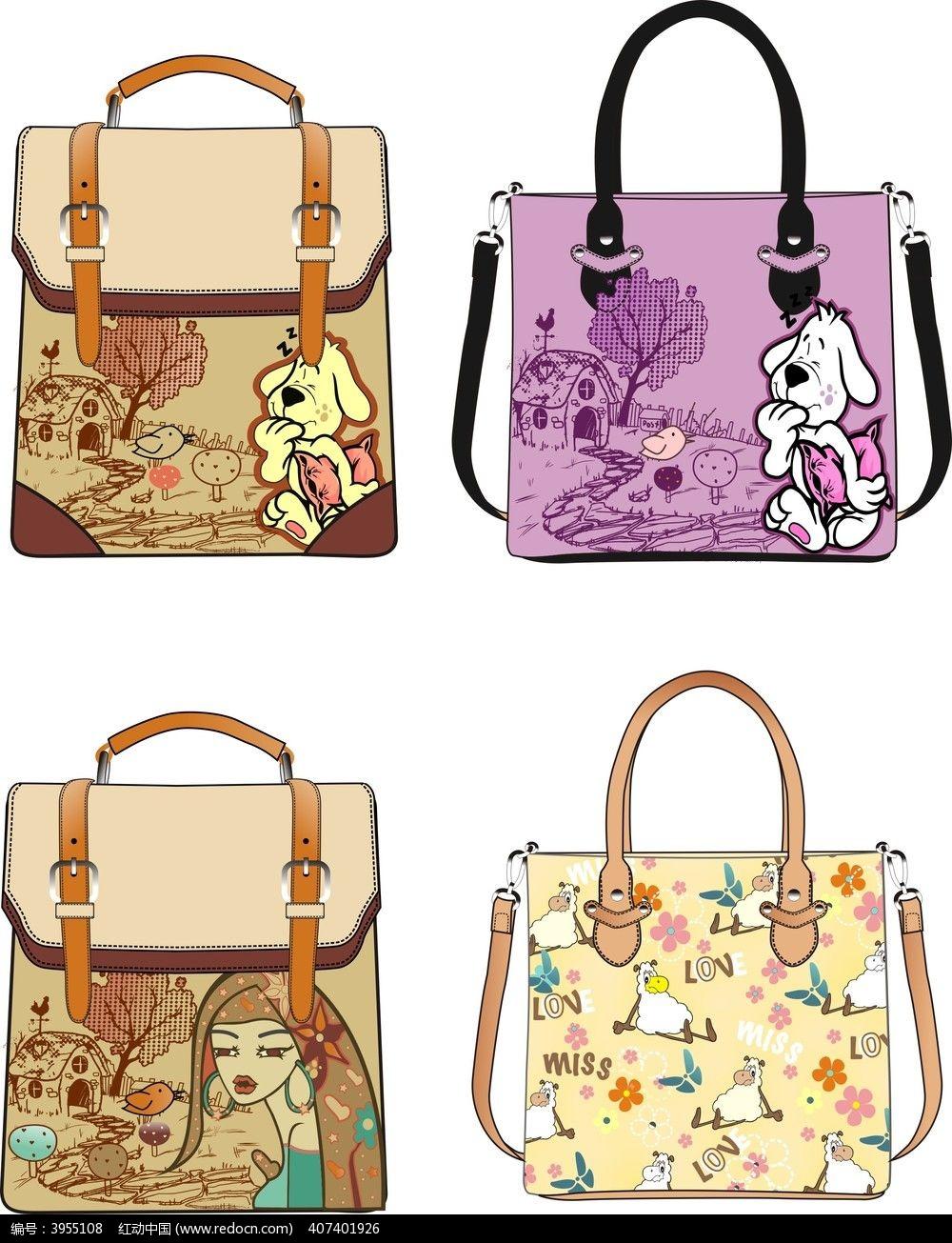 卡通时尚女包 手提包 单肩包 原创款式图 箱包设计图片