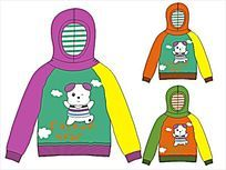 可爱小熊韩版童装卫衣设计手稿矢量 CDR
