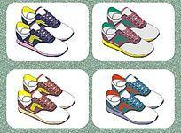 外贸休闲鞋设计矢量手稿  运动鞋设计与配色
