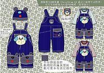 婴童 可爱卡通背带裤矢量手稿 背带裤设计
