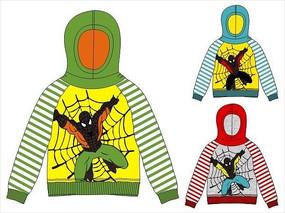 蜘蛛侠韩版童装卫衣设计手稿矢量