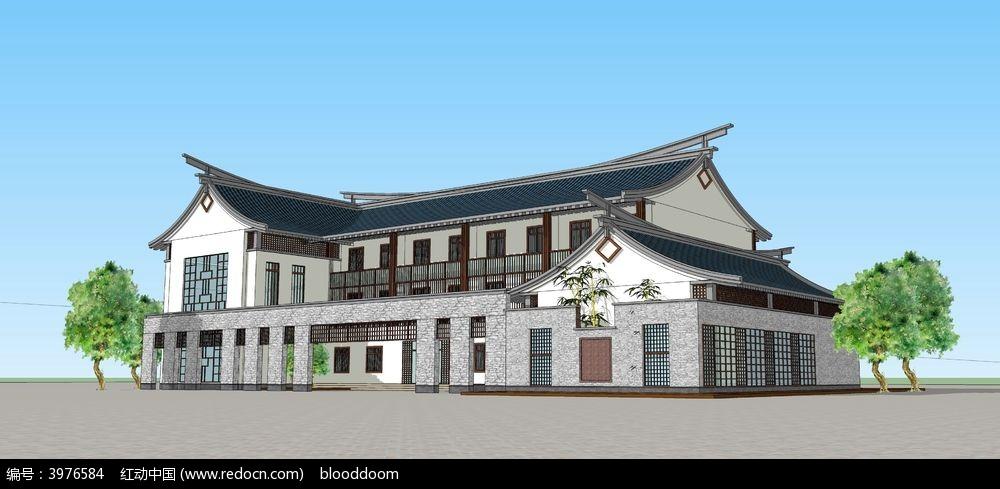 中式建筑sketchup模型图片