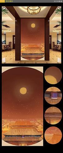 月亮玄关背景墙原创插画