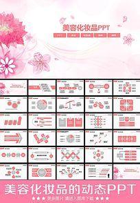 粉色化妆品动态ppt模板下载